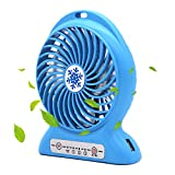 CoolFoxx Adjustable Mini USB Fan, Handheld 3 Powerful Wind Speeds Rechargeable Quiet Operation Portable Table Outdoor Cooling Fan with 2200mAh Battery for Traveling Hiking Fishing, 4.7 Inch (Blue)