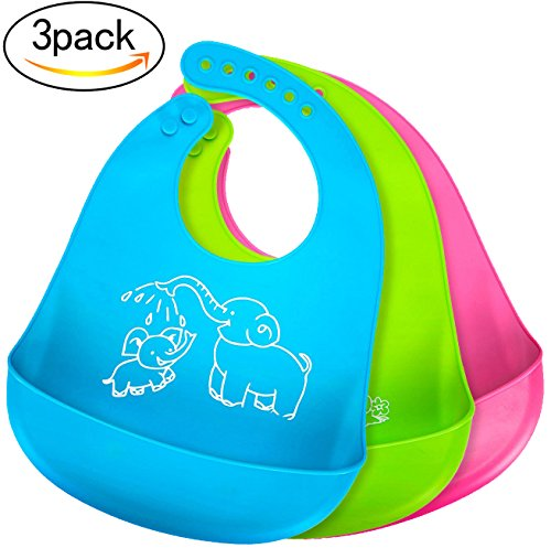 Bonim Baby Bibs Waterproof Silicone Bib - Comfortable and Adjustable Soft Feeding Bibs for Infants & Toddlers (6-72Months) Easy to Clean, Dry, Portable and Keep Stains Off! Set of 3 Colors from Bonim
