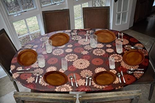 Covers For The Home Deluxe Elastic Edged Flannel Backed Vinyl Fitted Table Cover - Medallion Pattern - Oblong/Oval - Fits Tables up to 48