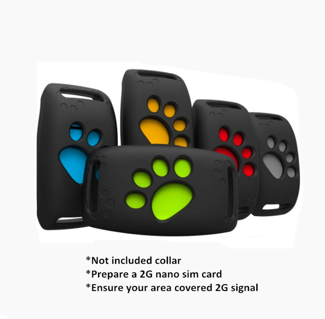 Xingqijia GPS 2G Pet Tracker, Real Time Dogs Cats Locator Finder - Waterproof|Alarm|32ft Security Fence|Remote Monitoring - Fits for All Android iOS Devices(Yellow)