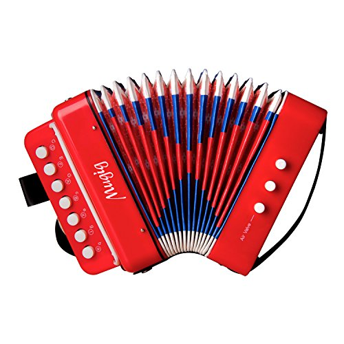 Mugig Accordion for Kids with 10 Keys, Toy Accordion, Solo and Ensemble Instrument, Musical Instrument for Early Childhood Teaching (Red)
