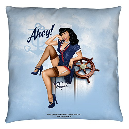 Bettie Page Lacy Pin Up Pose Model Icon Ahoy Throw Pillow by 2Bhip