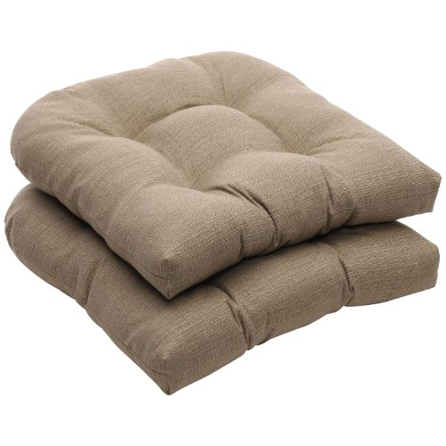 Pillow Perfect Indoor/Outdoor Taupe Textured Solid Wicker Seat Cushions, 2-Pack (Seat For Outdoor Furniture Cushions)