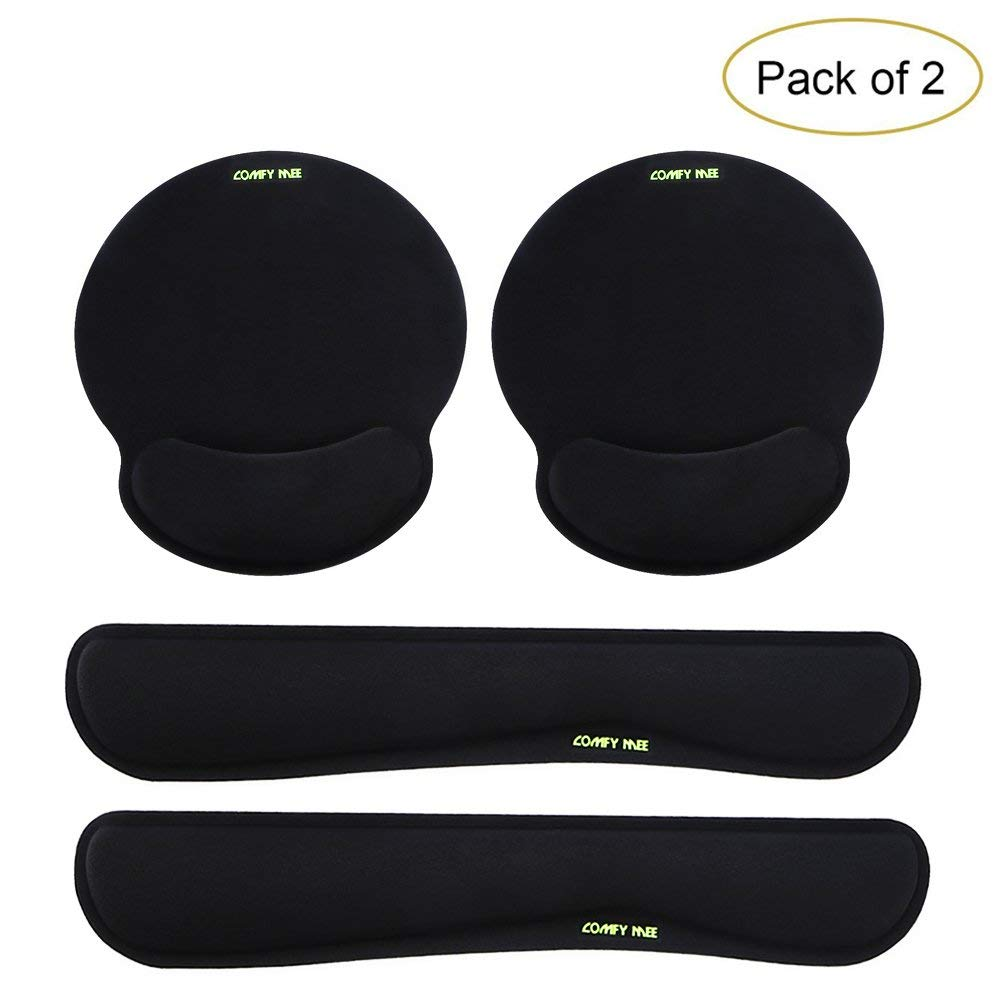 Comfy Mee Premium Memory Foam Keyboard and Mouse Wrist Rest Pads Set- for Comfortable Typing &Wrist Pain Relief (Pack of 2) by Comfy Mee