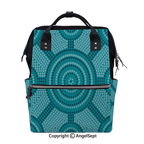 Travel&Outdoor Water-Resistant Baby Bags,Abstract Aboriginal Dot Painting Ancient Native Ethnic Cultural Art in Australia Teal,15.7 inches,Multi-Function for Mon Daddy from oobon