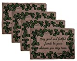 Set of Four Green St. Patrick's Lucky Irish Shamrocks Tapestry Place Mats (Good and Faithful Friends)