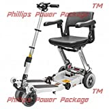 Free Rider USA - Luggie Elite - Compact Lightweight Foldable Scooter - 4-Wheel - Ivory - PHILLIPS POWER PACKAGE TM - TO $500 VALUE