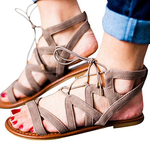 Womens Flats Sandal Strappy Hollow Out Fisherman Gladiator Flat Sandals
