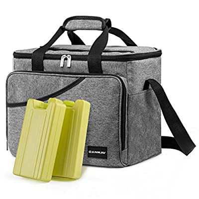Cooler Bag - Canway 40-Can Large Cooler, Insulated Cooler Bag, Soft Sided Cooler Bag with 2 Ice Packs for Outdoor Travel Hiking Beach Picnic BBQ Party, Gray