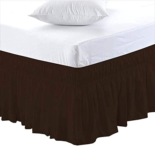 White Solid Wrap Around Ruffle Bed Skirt 400 TC Cotton All US Bed Size Drop Sale