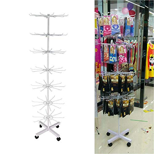 WUPYI Display Stand,7 Tier 360°Rotating Metal Display Stand Hanger Rack Hat Cap Display Stand with 70 Hooks for Clothes,Jewelry,Hat,Necklaces,US Stock