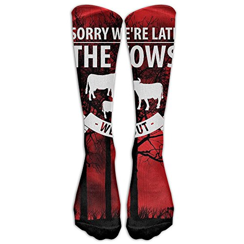 Sorry We're Late The Cows Were Out 1 Pair Over-The-Calf Socks Cosplay Socks Knee High Lightweight Ribbed Dress Stockings