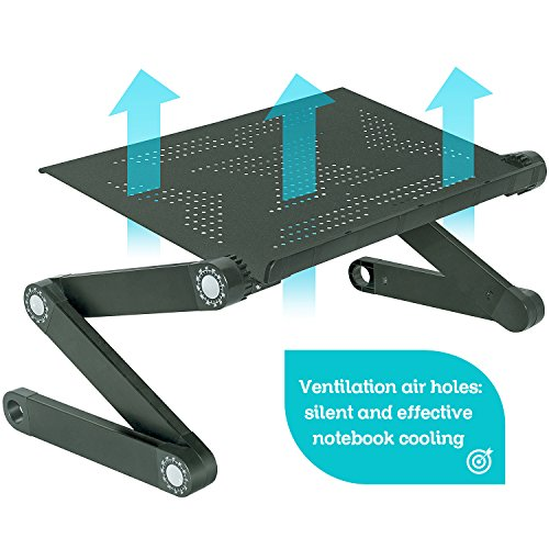Wonder Worker Newton Ergonomic Folding Laptop Table, Adjustable Laptop Stand, Portable Desk for Laptop, Bed Tray Cooling Pad, Black