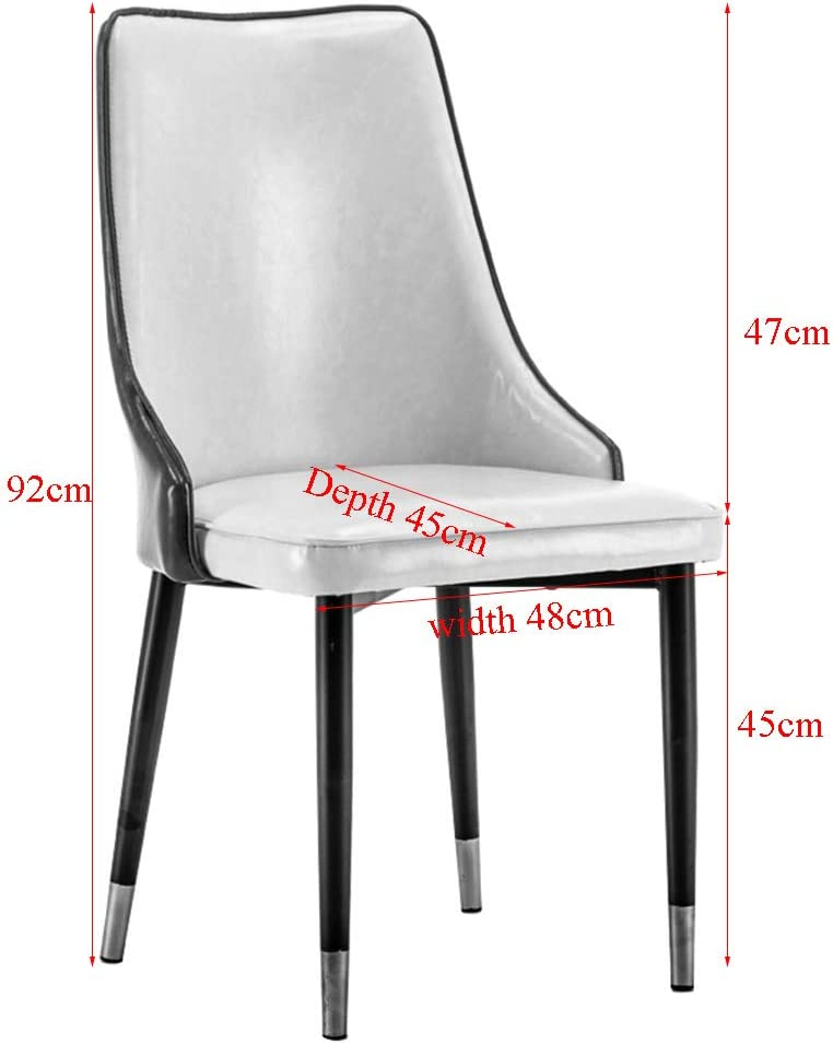 Desk Chairs-T Chaise De Salle À Manger Moderne Nordique,Surface du Siège en Cuir, Couleur Assortie,en Cuir Ciré,Fauteuil De Dossier Américain Simple en Fer Forgé Red