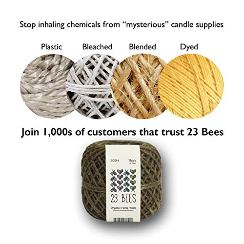 23 Bees 100% Organic Hemp Candle Wick + Wick Sustainer Tabs, 200ft(Thick) x 200pcs by 23 Bees (Image #5)