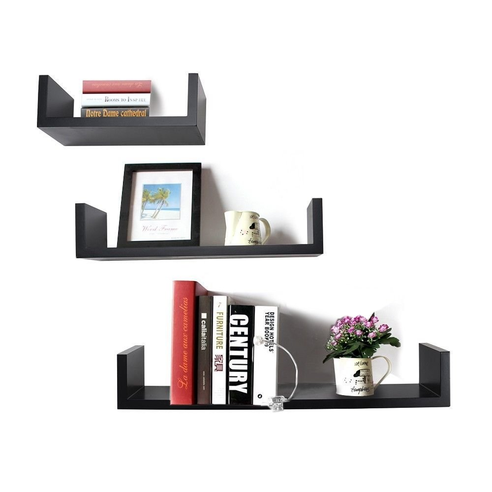 Decornation u shaped floating wall shelf set of 3 black amazon decornation u shaped floating wall shelf set of 3 black amazon home kitchen amipublicfo Gallery