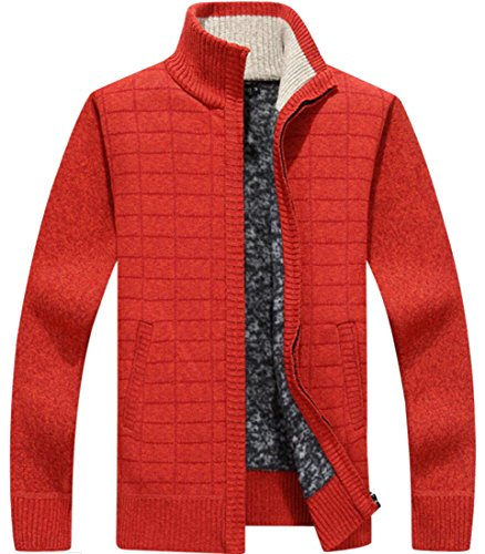 amp;W Full With Zip Men's Thick 2 Sweaters Cardigan M Knit Pockets amp;S Slim xq1w5B