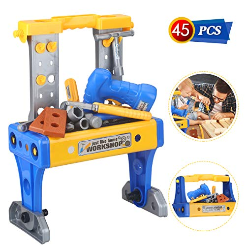 Power Tool Workshop Durable Kids Tool Kits Set Electronic Workbench Bench Drill Boys Toys Tool Pretend Play Construction Accessories STEM Educational Play Birthday Gifts for Boys and Girls Age 3-10