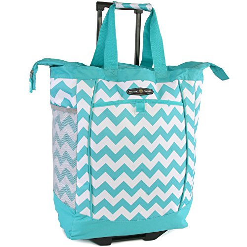 Pacific Coast Signature Large Rolling Shopper Tote Bag, Chevron Teal