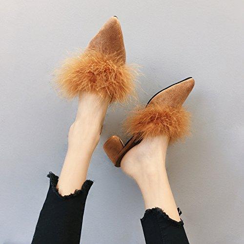 Fankou Autunno e Inverno suggerimenti moda pantofole calzature donna Baotou in grassetto, come tacco alto il cotone pantofole female ,39, kaki