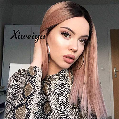 Xiweiya Short Straight Hair Bob Wigs Ombre Rose Gold Synthetic Lace Front Wigs Middle Parting Glueless Wig Heat Resistant Summer Hairstyle Pink Short Lace Wigs 14 Inch