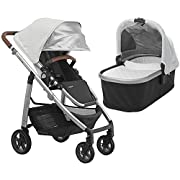 2018 UPPABaby CRUZ Stroller - Loic (White/Silver/Saddle Leather) + Bassinet- Loic (White/Silver)