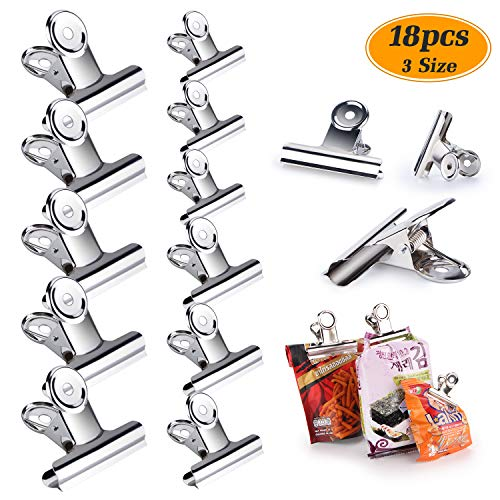 - Chip Clips Bag Clips Food Clips Set of 18 Pack Stainless Steel Heavy Duty Clips, All-Purpose Air Tight Seal Grip Clips for Kitchen Office - Silver