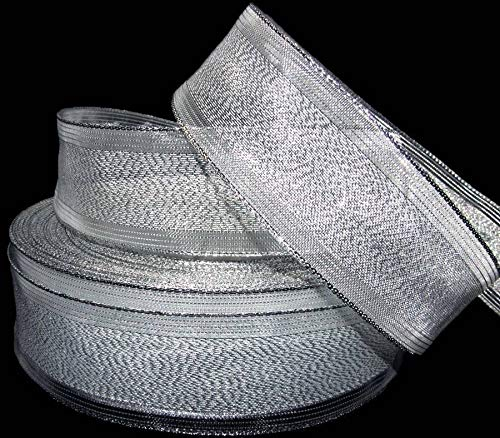 "Ribbon Art Craft Decoration 5 Yds Christmas Metallic Silver Sheer Pinstripe Edge Wired Ribbon 1 1/2""W"