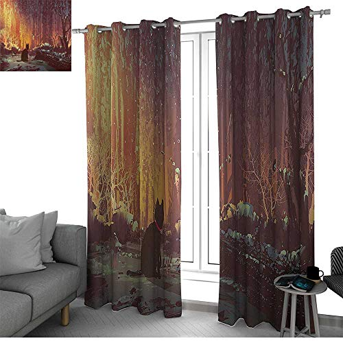 - bybyhome Fantasy Art Decor Room Divider Curtain Screen Partitions Surreal Lost Black Cat Deep Dark in Forest with Mystic Lights Picture Doorway Curtain Orange Brown W120 x L84 Inch