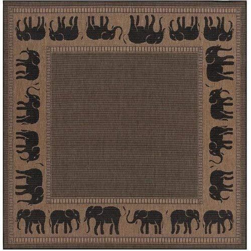 Couristan 1588/1021 Recife Elephant/Cocoa-Black 8-Feet 6-Inch Square Rug