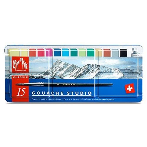 Caran d'Ache Gouache Studio 15 Assorted Colors Set in Metal Tin by Creative Art Materials
