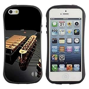 "Hypernova Slim Fit Dual Barniz Protector Caso Case Funda Para Apple iPhone SE / iPhone 5 / iPhone 5S [Música Oro Guitarra""]"
