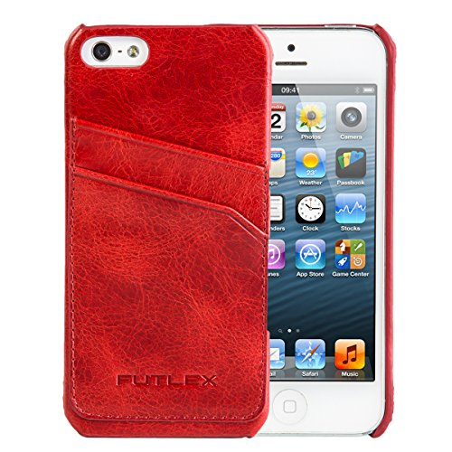 iPhone SE / 5 / 5S Case, FUTLEX Echtleder Vintage-Style Rückseite Case - Rot - Kartenhalter - Ultra Slim - Präziser Zuschnitt und Design - Handgefertigt