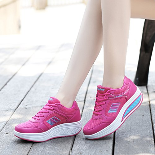 up Leather Sports Women's Fashion Shoes Platform Lace Sneakers Pink Orlancy 8 Shoes Walking Fitness gnEXAvxn