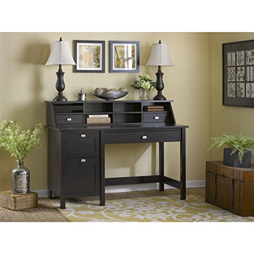 2 Drawer Oak Computer Desk (Bush Furniture Broadview Computer Desk with 2 Drawer Pedestal & Organizer in Espresso)