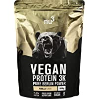 nu3 Vegan Protein 3K Shake | Vanilla Blend - 1 Kg Plant Based Protein | Protein Powder Made from 3-Component Protein | with 71% Protein and Delicious Vanilla Flavor | Lactose- and Sugar Free