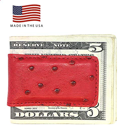 (Red Genuine Ostrich Money Clip - Magnetic - American Factory Direct - Strong Shielded Magnets - Money Holder - Money Holder - Made in USA by Real Leather Creations FBA509)