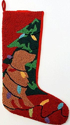 "Tangled Lights Golden Retriever Dog Hooked Wool Christmas Stocking- Large 21"""