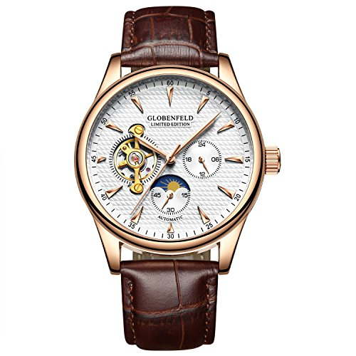 Globenfeld | Limited Edition Men's Automatic Watch | Brown Leather Strap | Analog Display, Classic Simple Design | 5 Year Warranty | 90 Days Risk Free