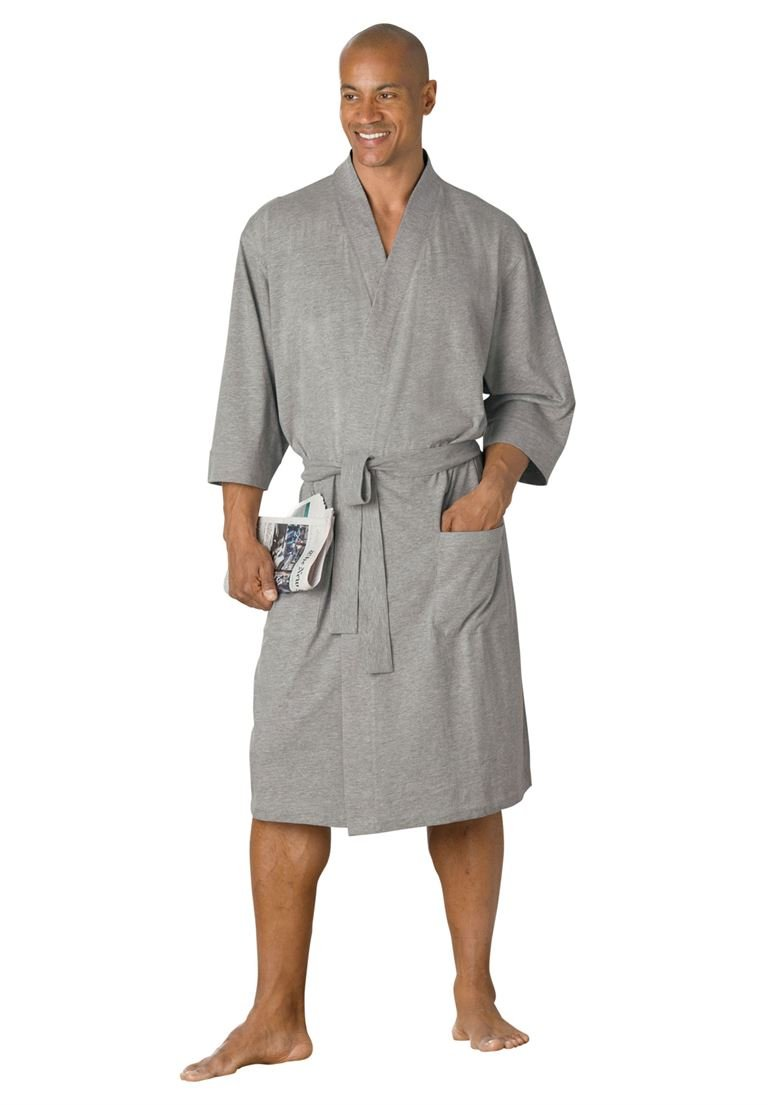 KingSize Men's Big & Tall Cotton Jersey Robe, Heather Grey Big-Xl/2X