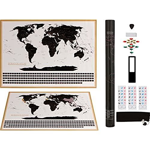 Corkboard world map amazon world map bonus accessories travelers journal scratchable wall decal decor poster bucket list vintage nomad notebook perfect for cork board gumiabroncs