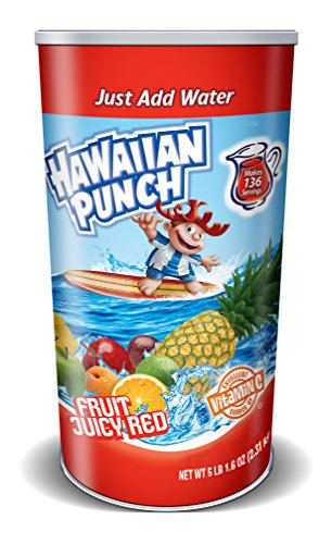 Red Fruit Punch - Hawaiian Punch Drink Mix - Fruit Juicy Red Water Powder Enhancer Canister (5 Pound, Makes 34 Quarts)
