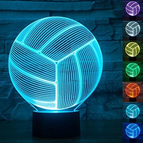3D Optical Illusion LED Volleyball Lamp Color-Changing Acrylic Volley Ball Modern Light Up Touch Hologram USB Nightlight Projector for Table, Nightstand, Nursery, Playroom, Kid's Room Decor