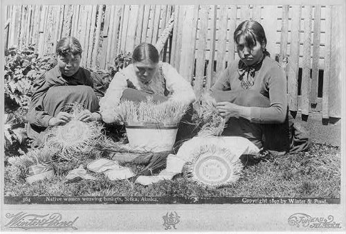 Alaska Native Baskets - Photo: Native women weaving baskets,Sitka,Alaska,AK,c1897,Eskimo females,sitting