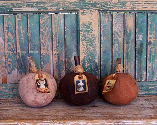 Handmade Small Rustic Primitive Pumpkins - Set of 3 - Orange Black White - with Hang Tags