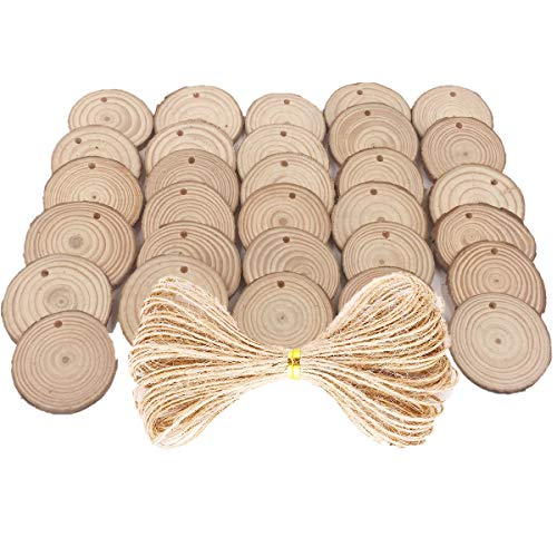 40 pcs 2.4-2.8 inch Natural Wood Slices for Craft Wood Unfinished Kit Predrilled with Holes Wooden Circles Great for Arts Rustic Christmas Ornaments DIY Wed ()