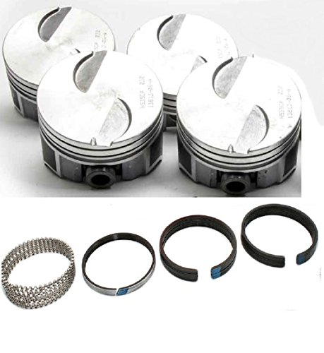 Hypereutectic Piston+Ring Kit compatible with Mercruiser 470 470R 488R Ford 3.7 3.7L 224 (4.390