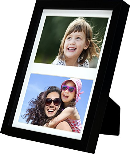 BD ART 17x23 cm (7x9-Inch) - 2 Aperture Black Collage Picture Frame with Mat for 2 Photos 4x6-Inch (Mount Glass European)