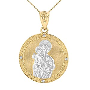 14k Two-Tone Gold Diamond-Studded Saint Joseph Round Medal Necklace (1.15