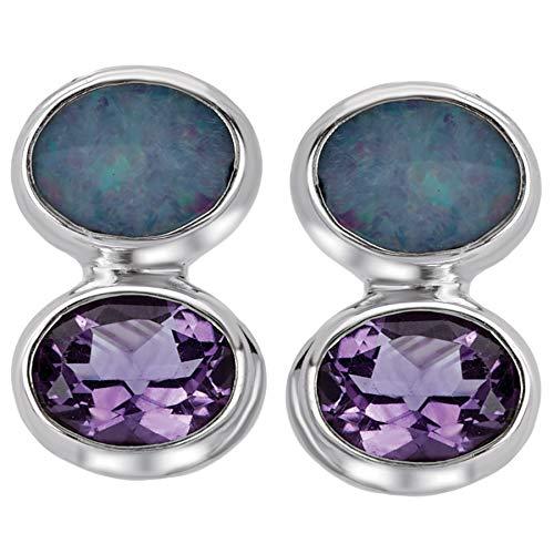 925 Silver, Amethyst & Opal Double-Drop Post Earrings